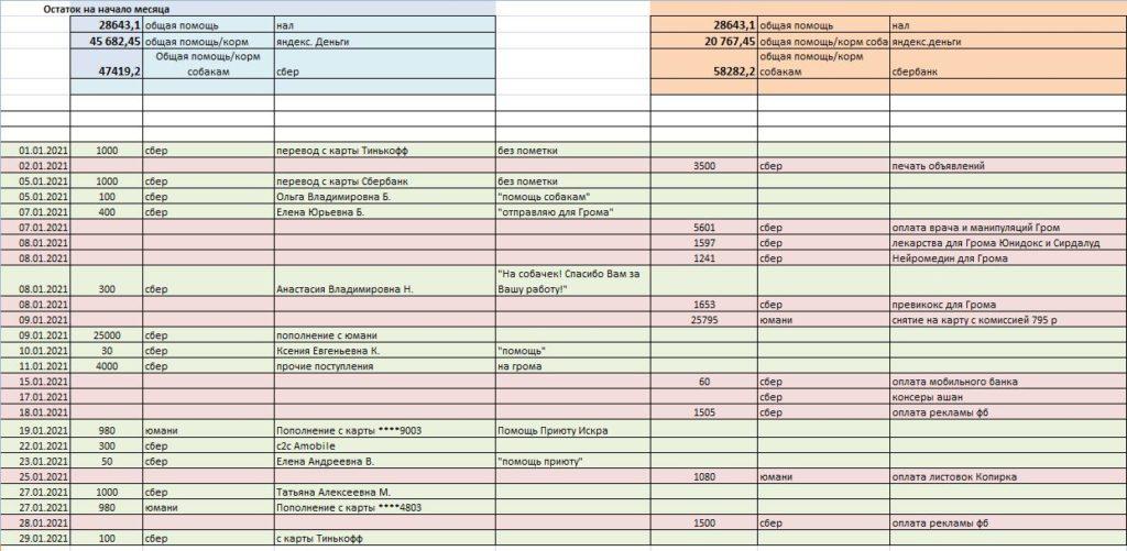 Отчет за январь 2021